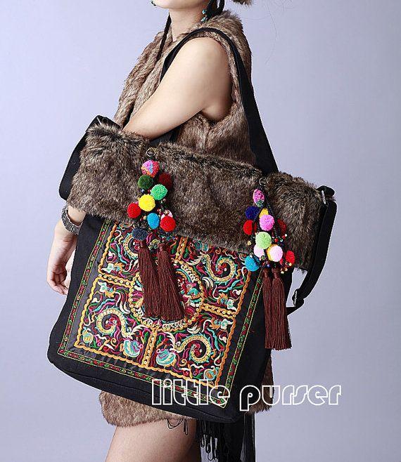 Gift for Mom Handbag Hmong Embroidered Hippie Gypsy Vintage Travel Purse Women Handmade Large Boho Purse Woman Gift