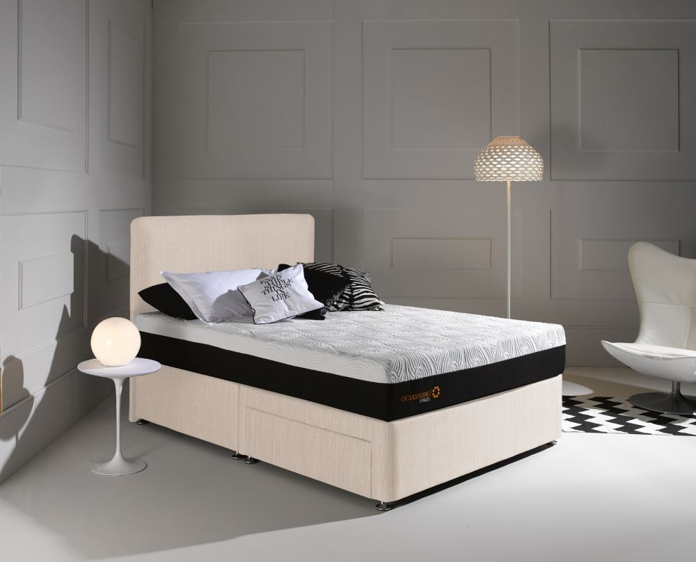 Dormeo Octaspring Matras : Dormeo octaspring tiffany white sand fabric divan bed with hybrid
