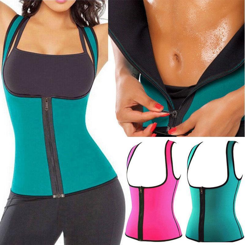 Womens Sweat Neoprene Body Shaper Waist Trainer Cincher Yoga Vest Slimming Shirt