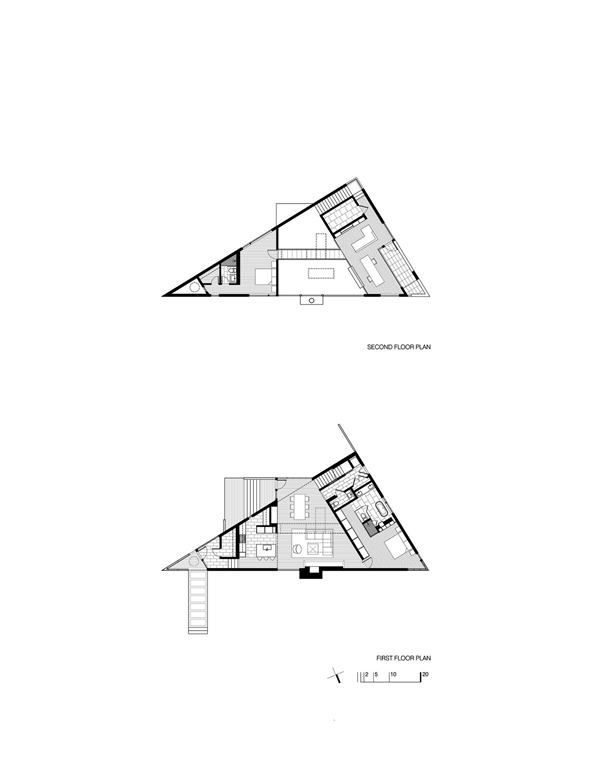 An imaginative approach to packing the triangle house by for Irregular house plans