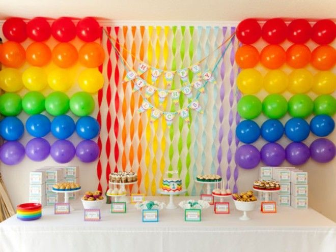 Party Ideas Rainbow Birthday Party Rainbow Party Decorations