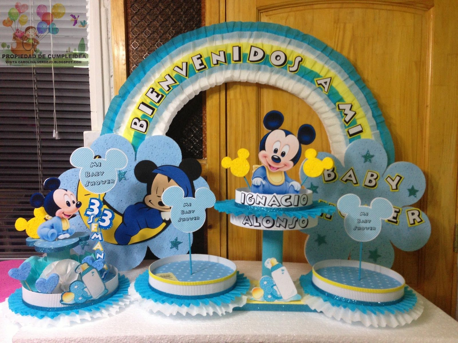 Baby mickey mouse baby shower ecorations decoraciones for Decoracion cumpleanos nino