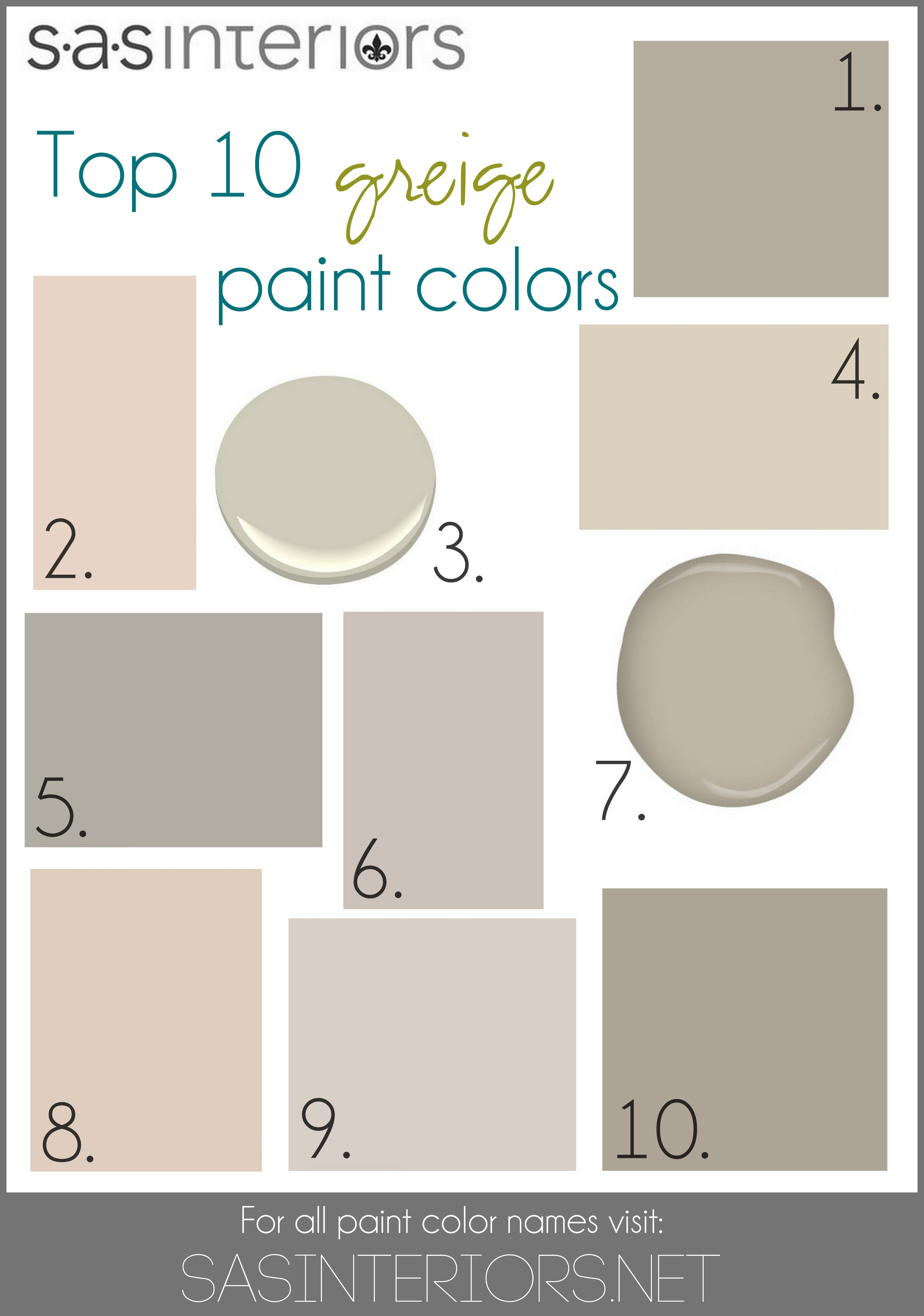 Top 10 Greige Paint Colors For Walls 1 Sherwin Williams Mega 2 Valspar Woodrow Wilson Putty 3 Benjamin Moore Hazy Skies 4