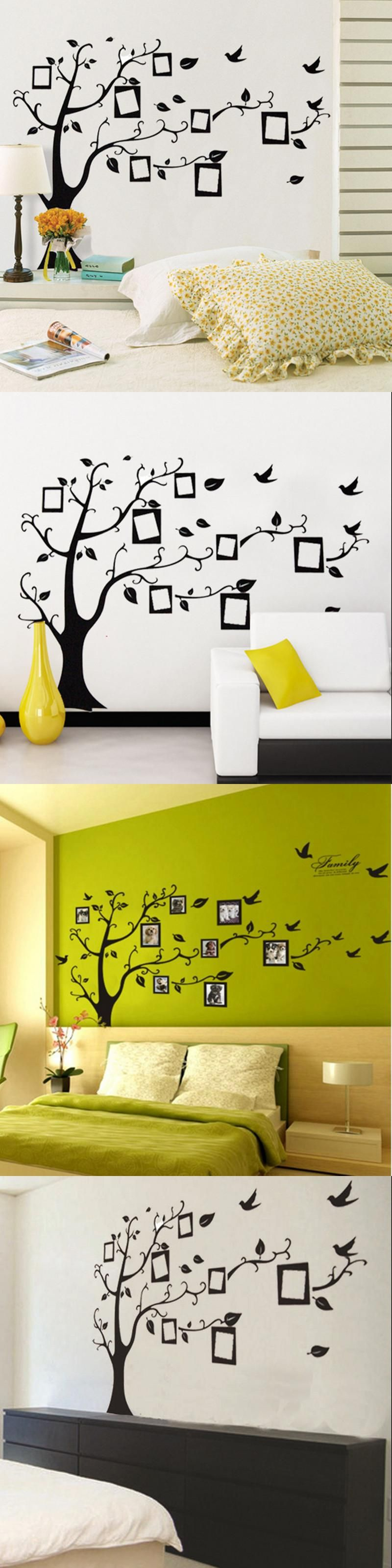 DIY Wall Sticker Black Photo Tree PVC Wall Stickers Decals Adhesive ...
