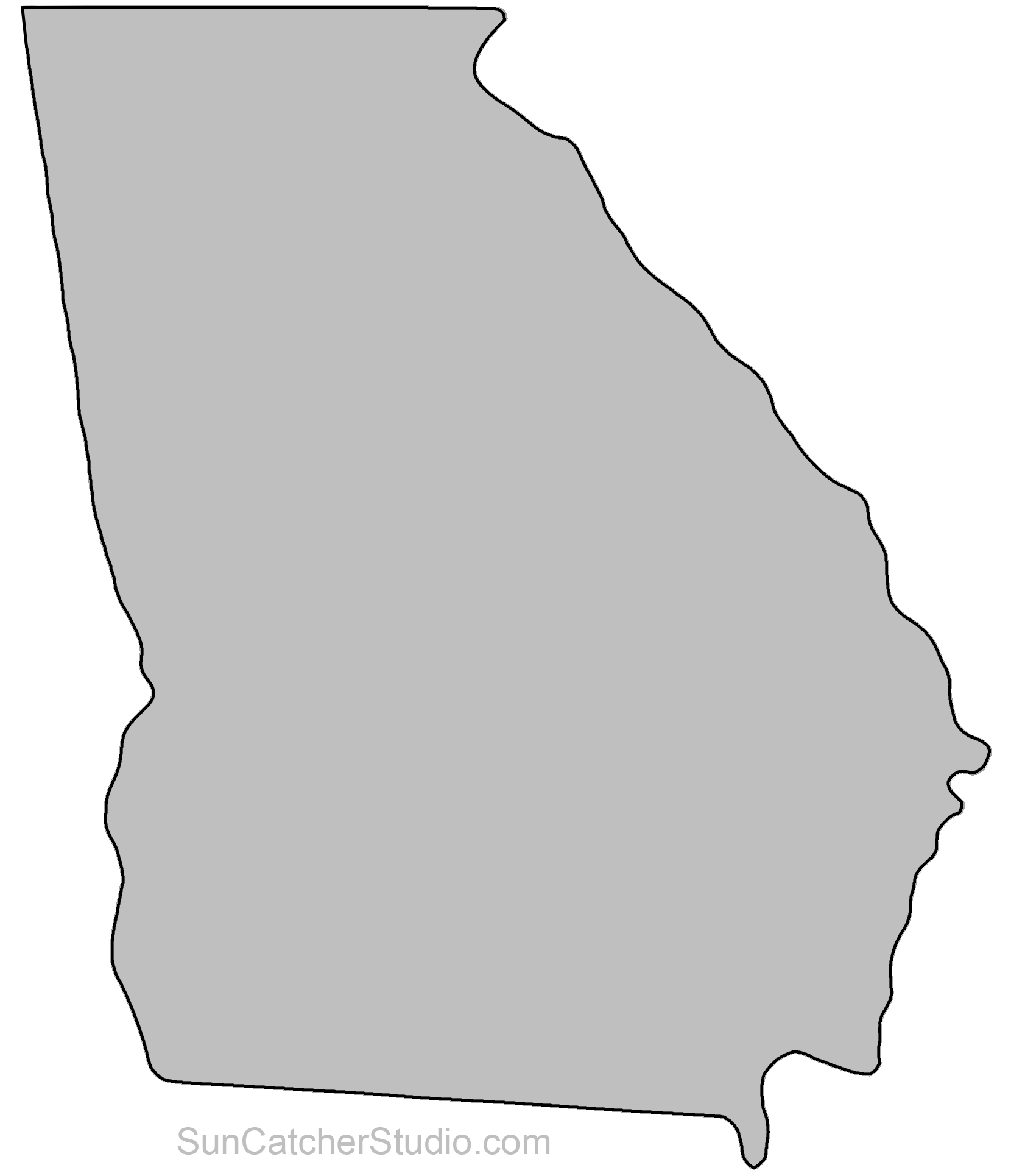 State Outlines Maps Stencils Patterns Clip Art All 50 States Georgia Map Georgia Outline Door Hanger Template