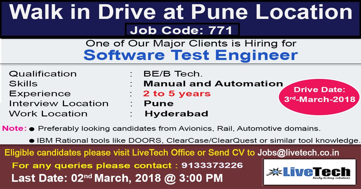 walk in drive at Pune location on 3rd March2018. Job code