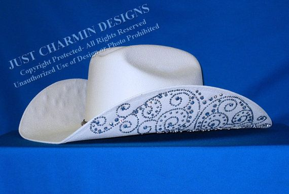 JCD- Just Charmin Designs- Crystal Bling OFF-WHITE Western Cowgirl Cowboy  Hat Horse Show Shirt Rodeo Showmanship Barrel Racing on Etsy f697b4ac324