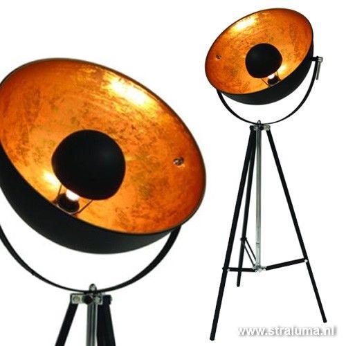 Vloerlamp 3 Poot Grote Spot Zwart Goud Vloerlamp Lampen Tripod Lamp