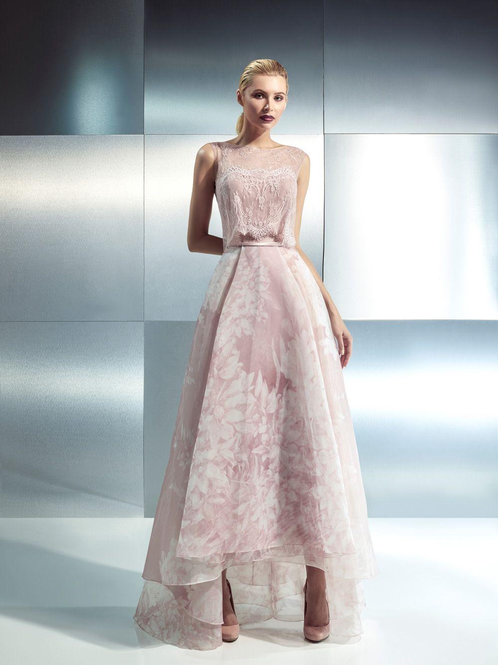 5705a0021290 abito da sposa abito in pizzo chantilly e organza stampata floreale nelle  tonalità pink. CH 1642 - Sposa D Este