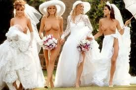 Naked brides in suspenders