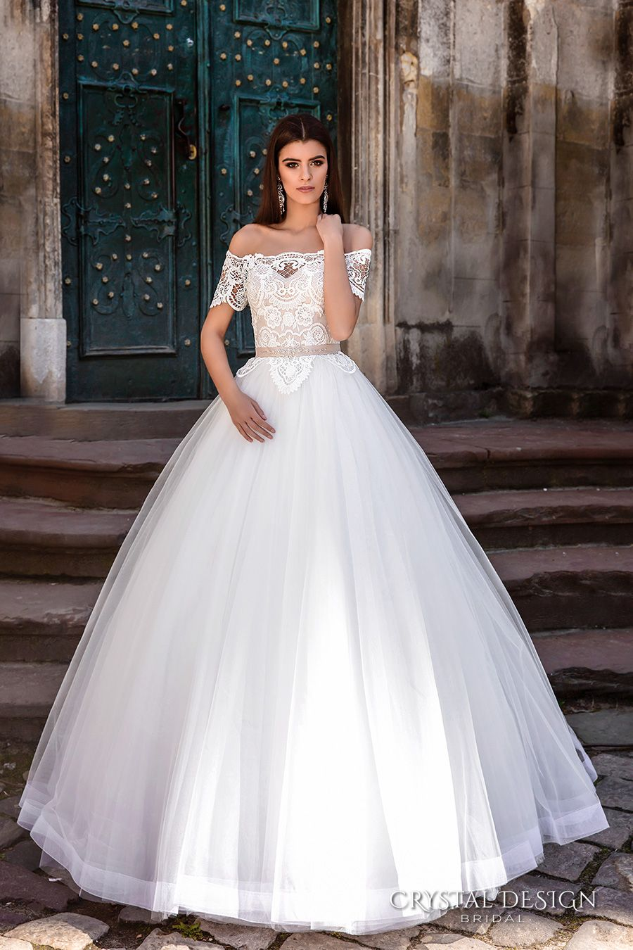 CRYSTAL DESIGN bridal 2016 off the shoulder lace bodice embellished hem princess tulle ball gown wedding dress illusion lace back royal train (marisa) mv  #bridal #wedding #weddingdress #weddinggown #bridalgown #dreamgown #dreamdress #engaged #inspiration #bridalinspiration #weddinginspiration #weddingdresses #ballgown #romantic #lace #crystaldesign