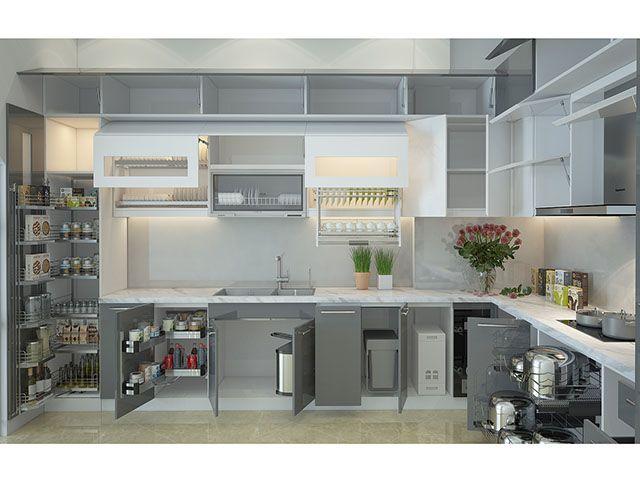 Thiết kế phụ kiện tủ bếp và những điều bạn cần biết - Nội thất Hpro   Bếp,  Tủ bếp, Thiết kế