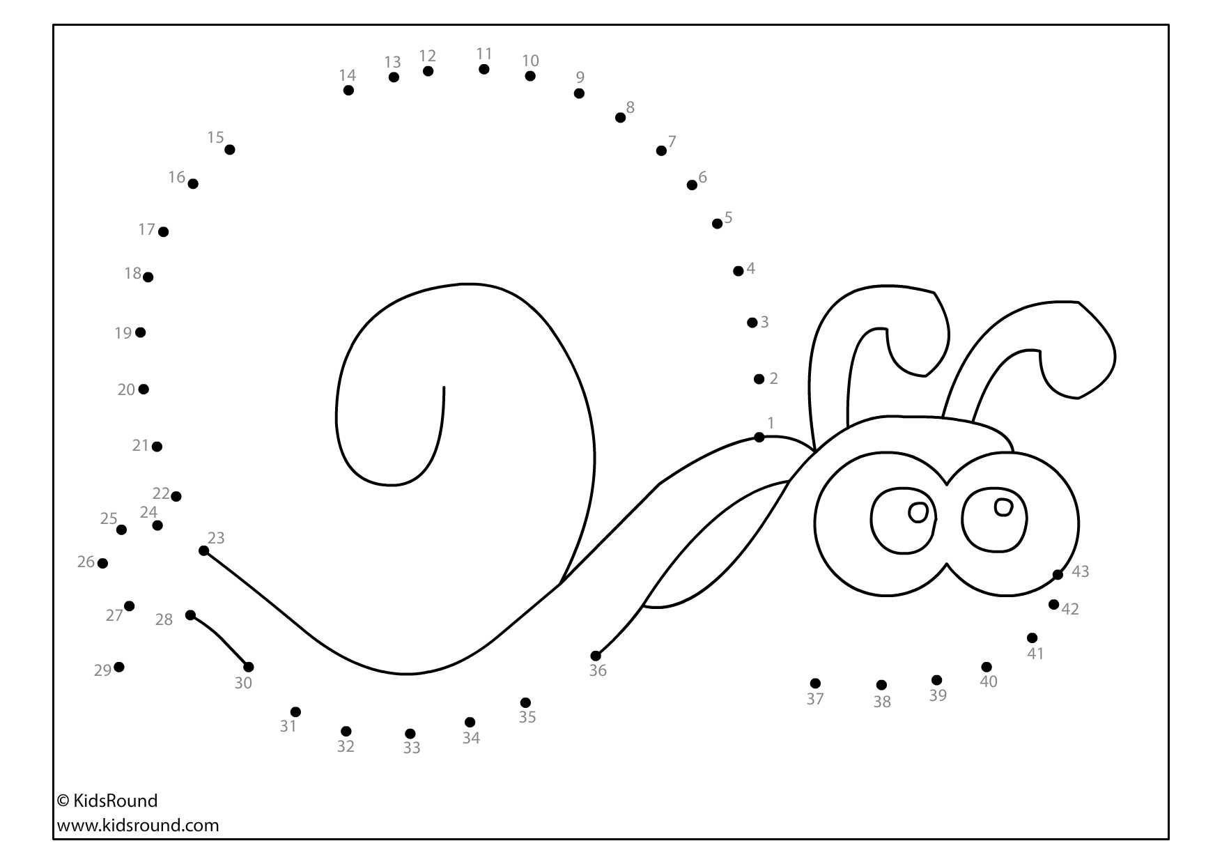Kidsround Snail Dot To Dot Free Printable Insects