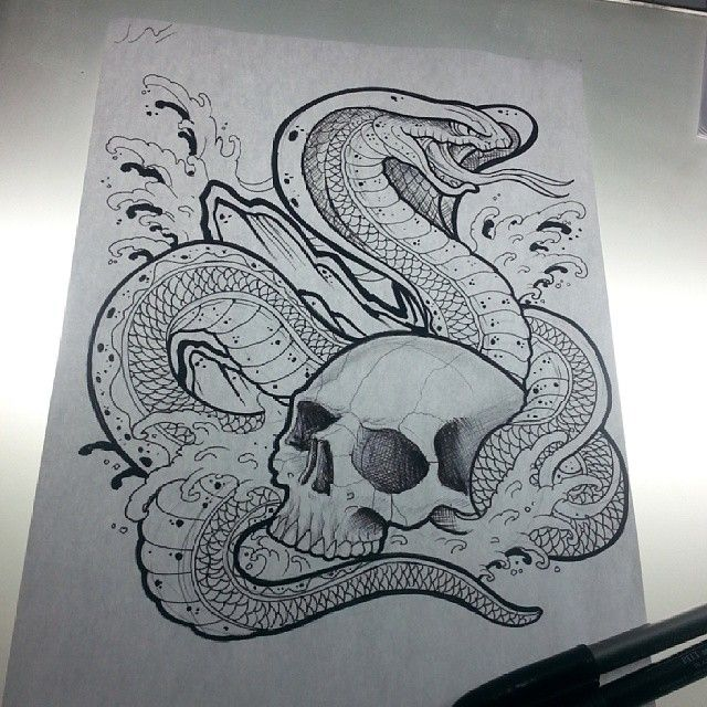 king cobra skull tattoo sketch draw sketchs pinterest