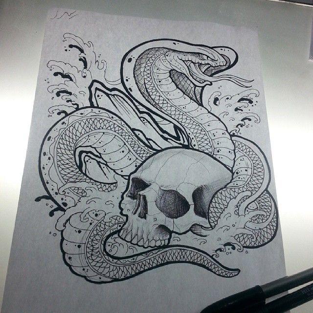 king cobra skull tattoo sketch draw sketchs pinterest