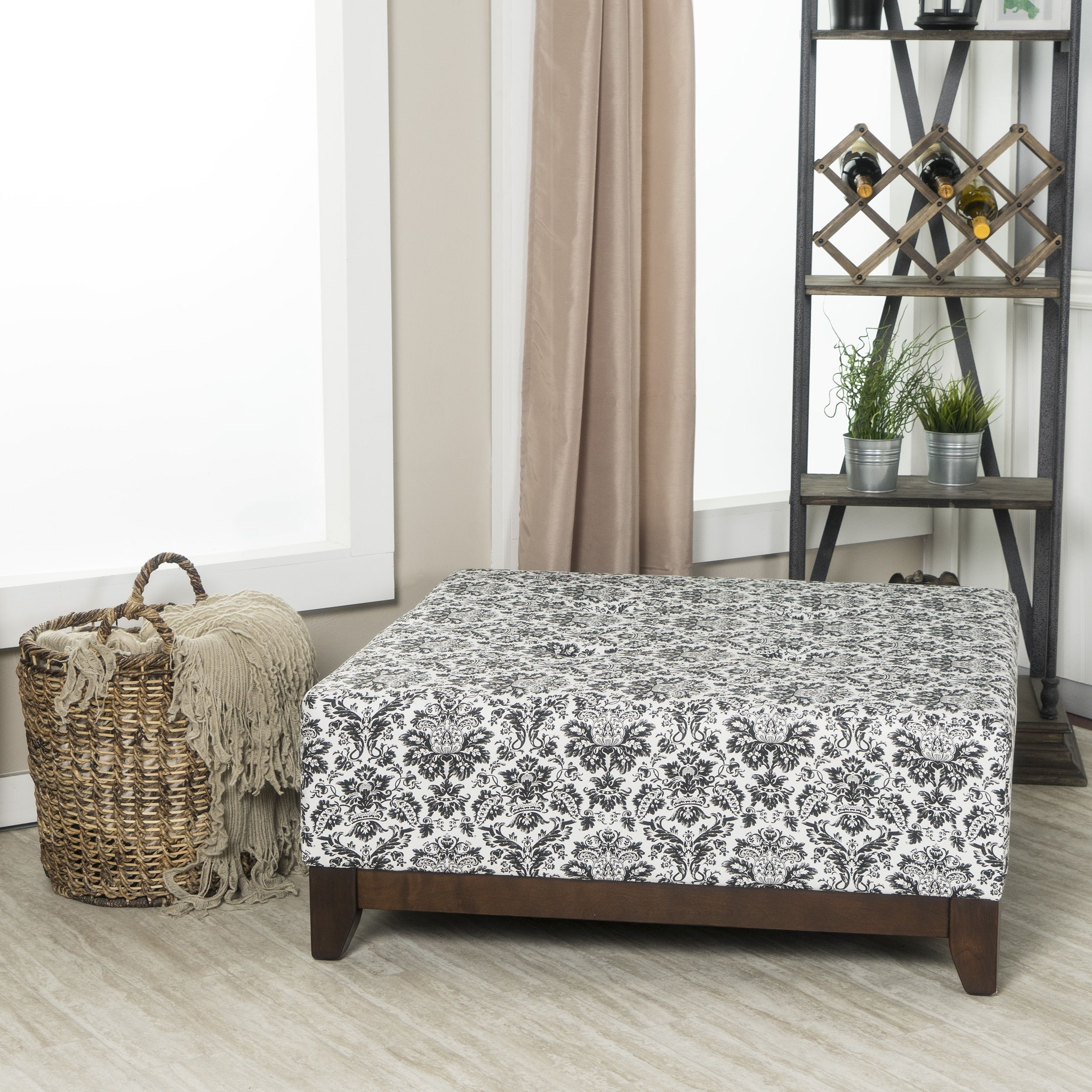 Fine Crawfird And Burke Fielding And White Damask Square Ottoman Cjindustries Chair Design For Home Cjindustriesco