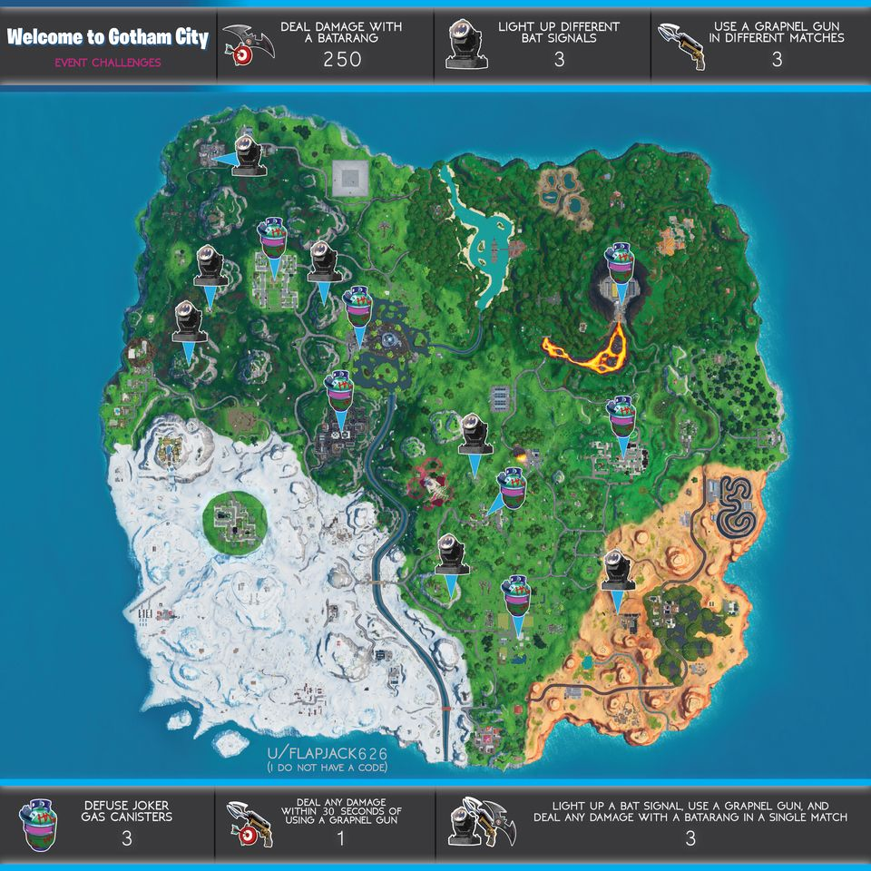 Cheat Sheet Map For Welcome To Gotham City Challenges In Fortnite If Youre Rushing To Get The Welcome To Gotham City Challenges C Gotham City Gotham Fortnite