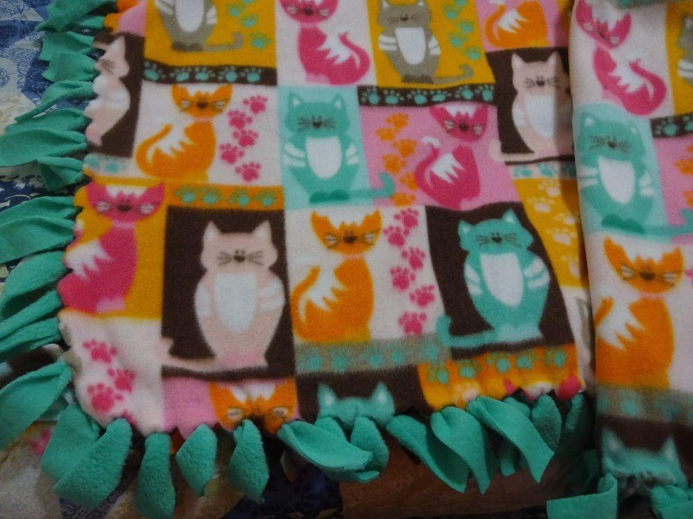 "Handmade Fleece Tie Blanket, Size 52"" x 42"", KITTY CATS"