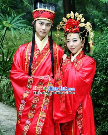 33d89112de524 Ancient Chinese Wedding Bridegroom Hat and Bride Hair Accessories ...