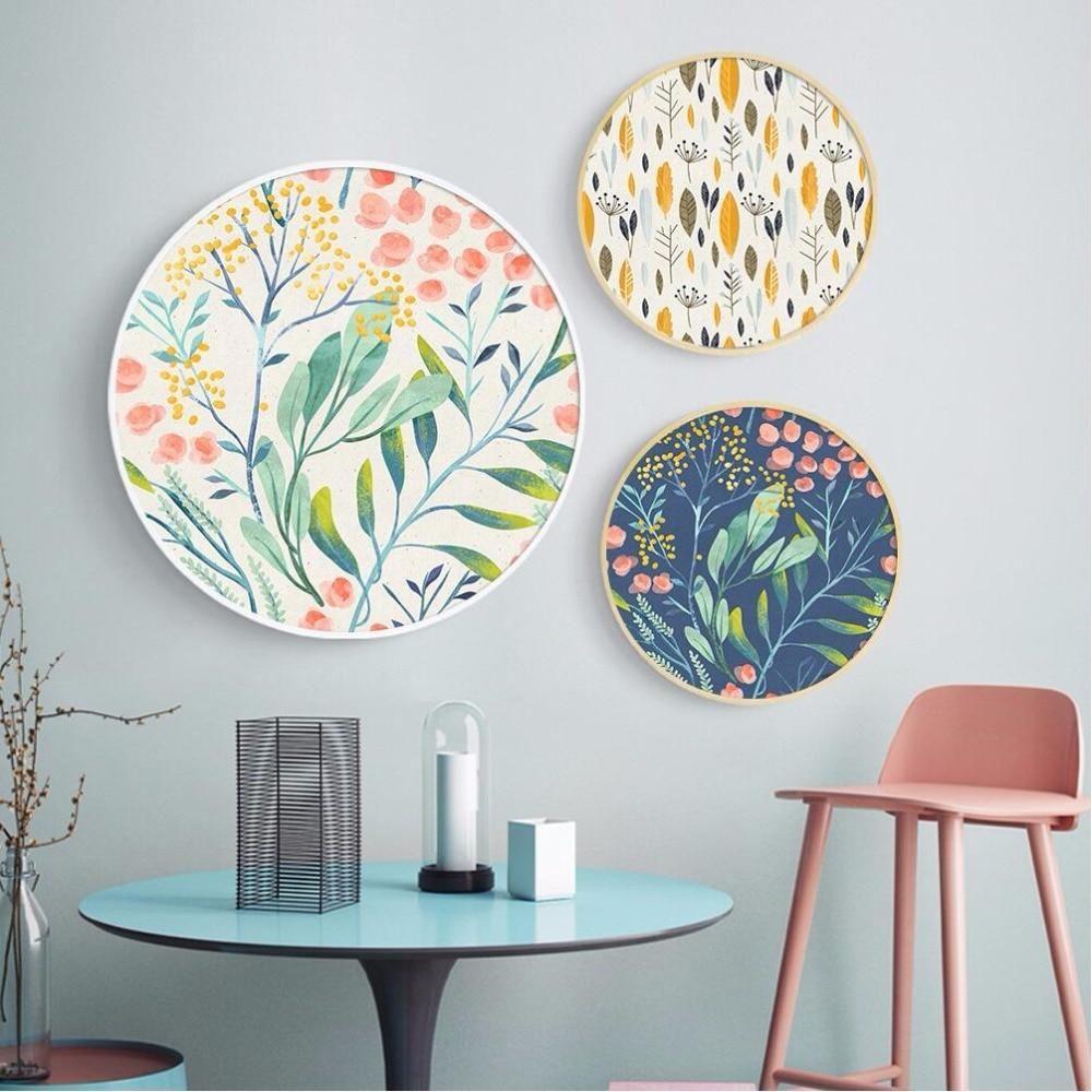 Modern Floral Circular Wall Art Round Wall Art Circle Wall Art Plate Wall Decor