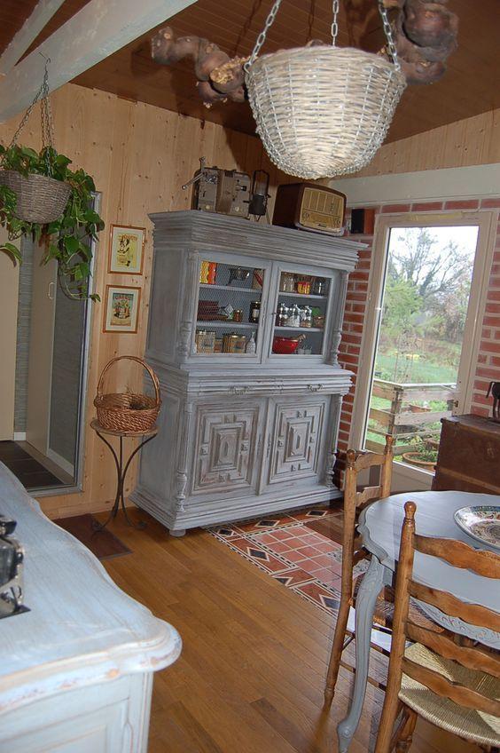 buffet 2 corps henri ii gris bleut d co mobilier de salon relooking meuble et relooking. Black Bedroom Furniture Sets. Home Design Ideas
