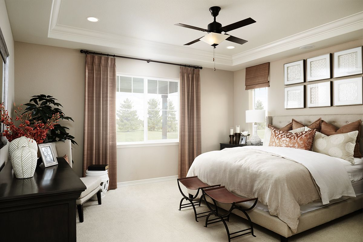 Russet Accents In A Rich Cream Master Bedroom Arlington Model