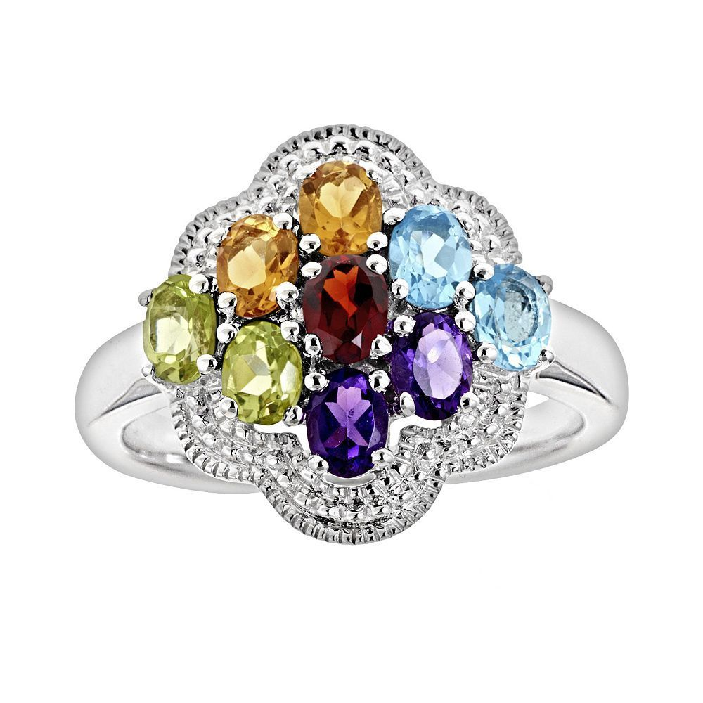 Grab this at 60% off, the  Sterling Silver Gemstone Cluster Ring #gemstones #ring #OnlineDeals #Sale