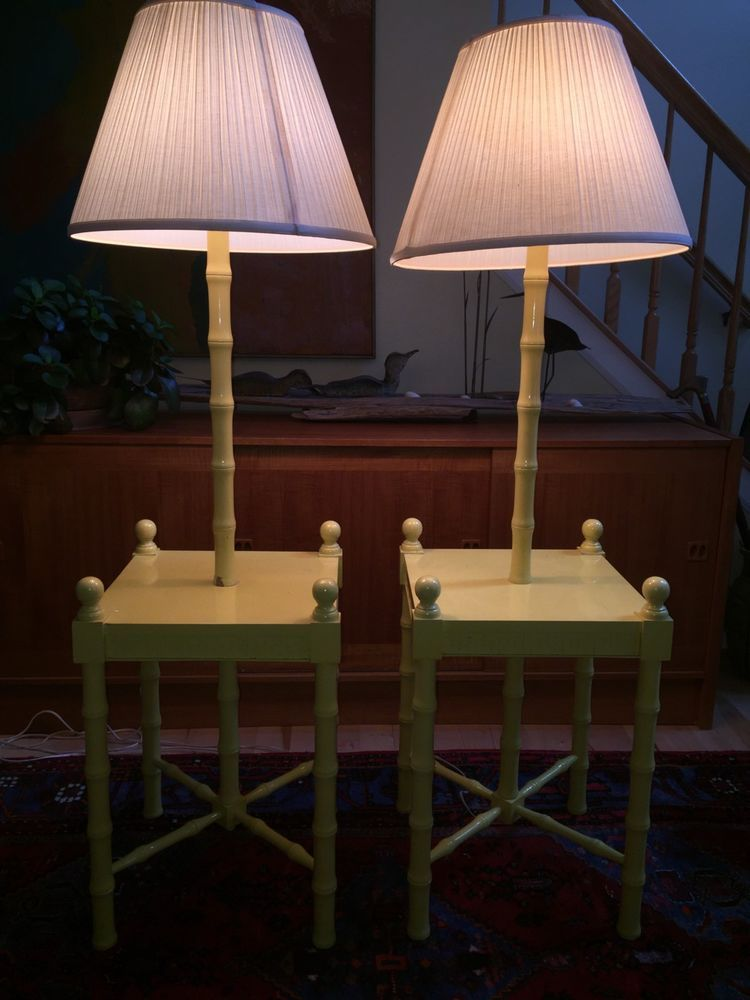 Mid Century End Table Nightstand Floor Lamps Faux Bamboo Chinese Chippendale Pr Faux Bamboo Floor Lamp End Tables
