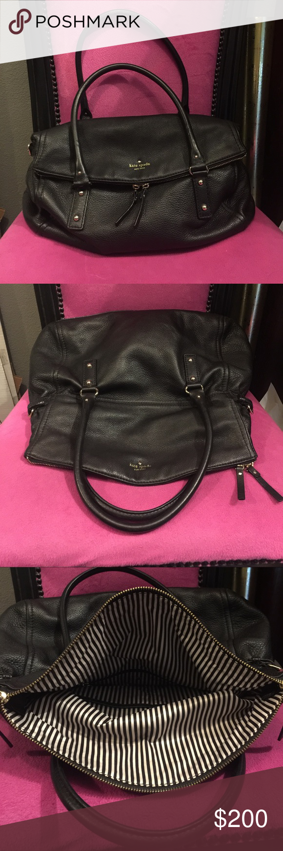 Giant Kate ♠️ Spade Bag!! This beauty is huge and holds everything but the kitchen sink!! Mint condition!!! kate spade Bags Shoulder Bags