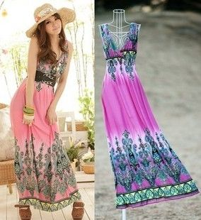 Fashion Sleeveless V-Neck Beach Maxi Dress on BuyTrends.com, only price $12.00