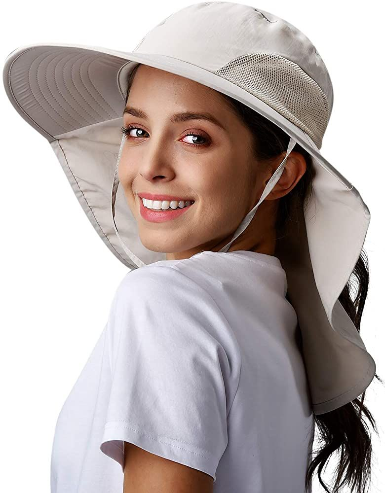 Sun Hats for Women Sun Protection Hat Wide Brim with Neck Flap Beige at  Amazon Women's Clothing store | Hiking hats for women, Sun hats for women,  Hats for women