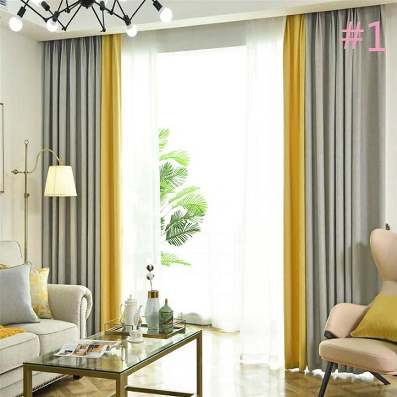 Double Colors Splicing Curtain Modern Simple Semi Blackout Curtain