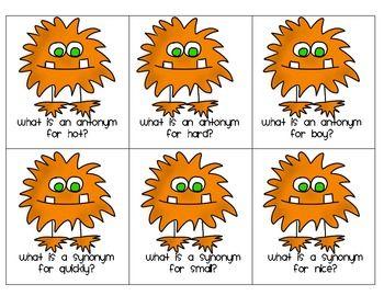 Monster Madness Synonyms Antonyms Freebie Synonyms And Antonyms Free Speech Activities Antonyms