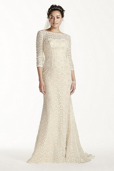 3/4 Sleeve Sheath with Beaded Lace CWG711 | shall we wed? | Pinterest