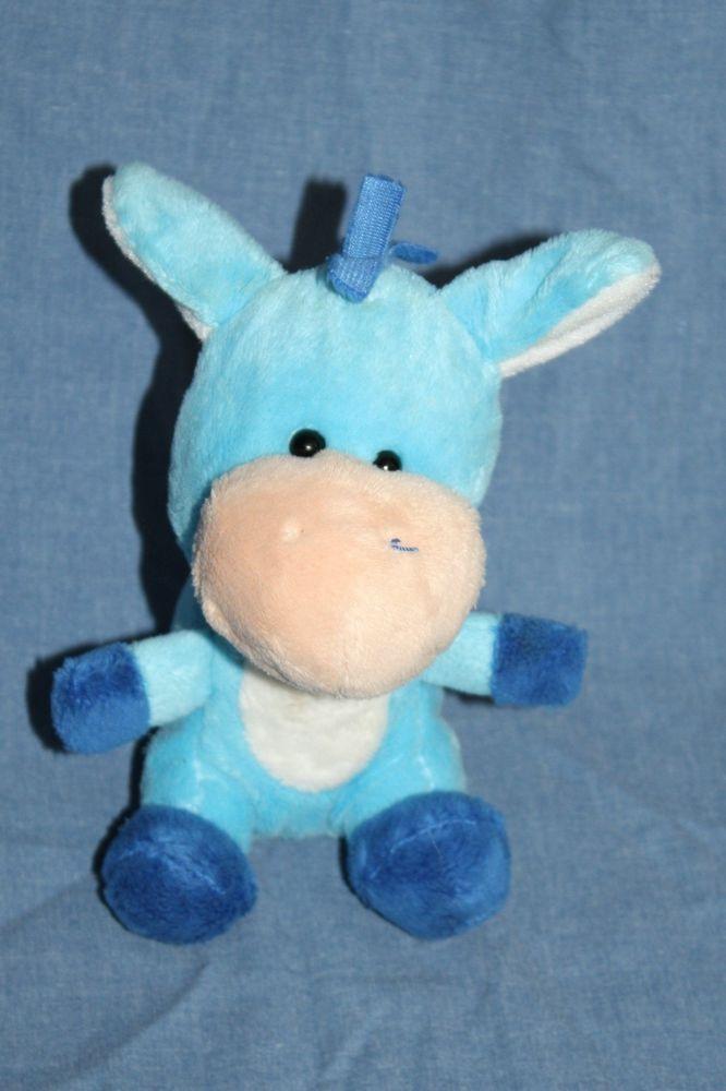 Small Blue Plush Cow Horse Giraffe Soft Toy Stuffed Animal Shanghai
