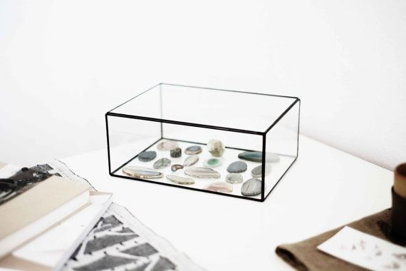 Hinged Glass Display Box silver or copper eco friendly wedding Stained Glass Box cushion