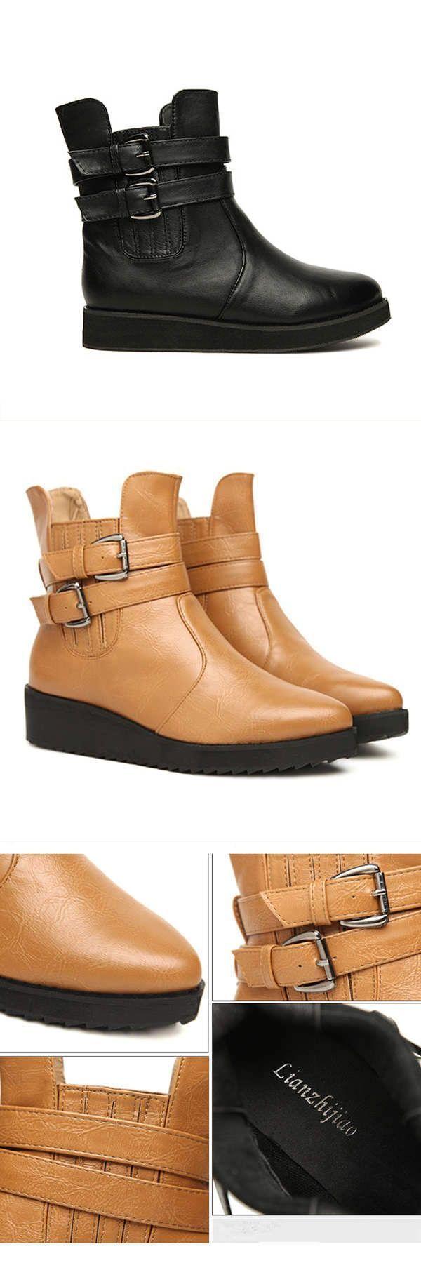 Vintage Buckle Casual Flat Heel Women 8217 S Martin Boots Z Skid Control