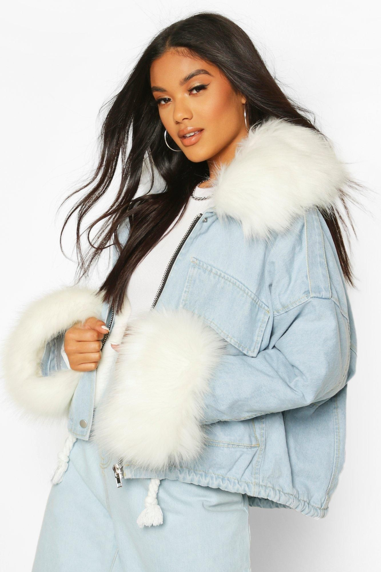 Faux Fur Collar Cuff Oversized Denim Jacket Boohoo Oversized Denim Jacket Faux Fur Collar Fur Collar Jacket [ 2000 x 1333 Pixel ]