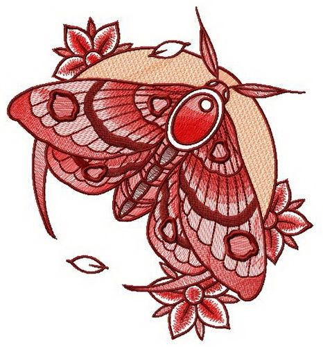 Night moth and flowers machine embroidery design #moon #plant #leaves #night #blossom #moth #crescent #fortshirts #embroidery