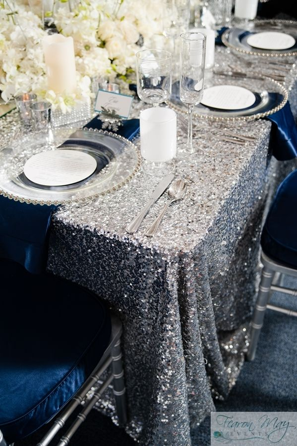 Beautiful Silver Sequin Table Cloth With Navy Blue Accents Perfect For A Winter Wonderland Sweet 16 Birthday Party