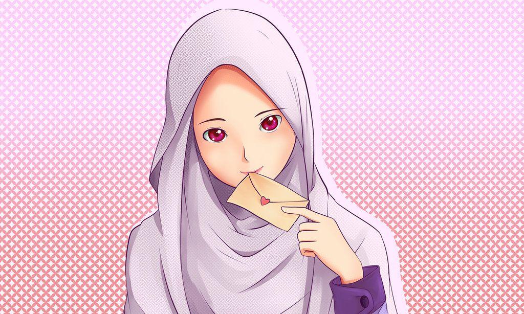 Love Letter Vizatime me Shaminë Anime muslim, Hijab