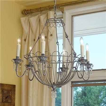 French Gray Wire Basket Chandelier with authentic faux-drip candle ...