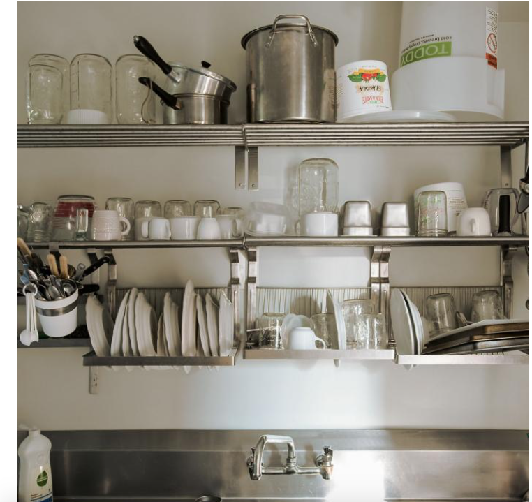 stainless and draining rack instead kitchen shelves on kitchen shelves instead of cabinets id=13417