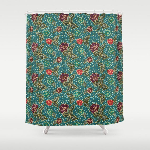 Teal Shower Curtain Floral Shower Curtain Batik Shower Curtain
