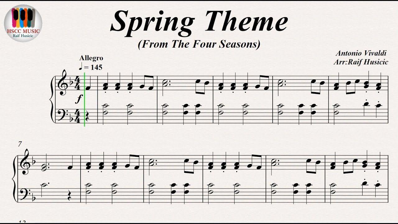 Spring Theme From The Four Seasons Antonio Vivaldi Piano