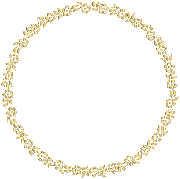 Golden Round Floral Border Transparent Clip Art Image
