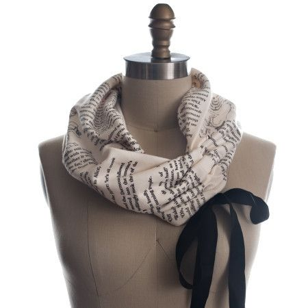 Alice In Wonderland Ribbon Book Scarf Wrap up with a good Book Scarf, even in summer! Let everyone know about your great taste in books by wrapping a page of one around your neck. This infinity scarf features text straight from Alice in W