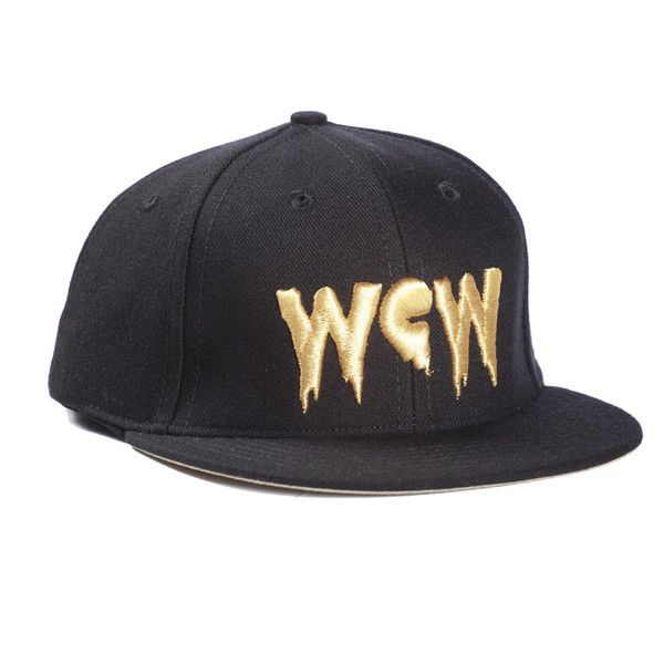 Black Hat with GOLD WCW ($35) ❤ liked on Polyvore