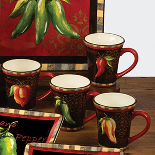 Chili Pepper Decor Chili Pepper Mug 14 Oz Set 4 Assorted Chili
