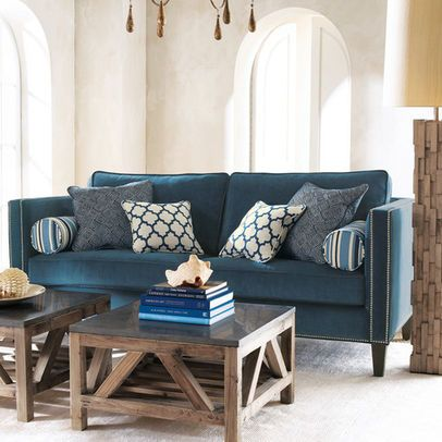 Peacock Blue Couch Horchow Eclectic Living Room Furniture